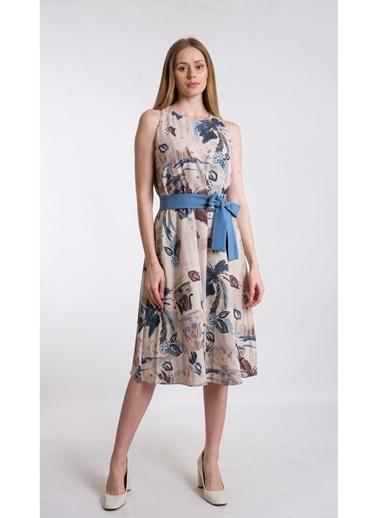 JEANNE D'ARC A Form Desenli Beli Kuşaklı Keten Kumaş Elbise Je545317 Mavi
